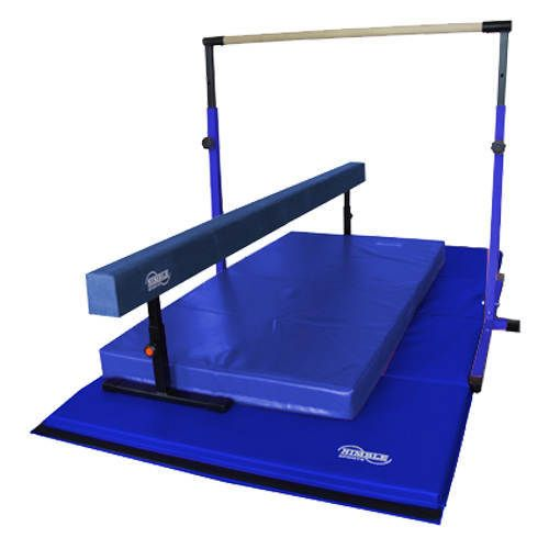 Gymnastics Equipment for home!  For more colors and variations check out www.nimblesports.com !  This set includes: - Blue Horizontal Bar - Blue 8ft Adjustable Balance Beam - Blue 8x4ft Folding Mat - Blue Landing Mat  Bar: The 3ft to 5ft adjustable horizontal bar. 36, 42, 48, 54, 62 inches high.  The wood bar is 1-1/2 inches round with a 100lb weight limit.  The design includes rubber base caps and the adjustable lock bolts.  Base extensions available for added stability.  Beam:  The bea...