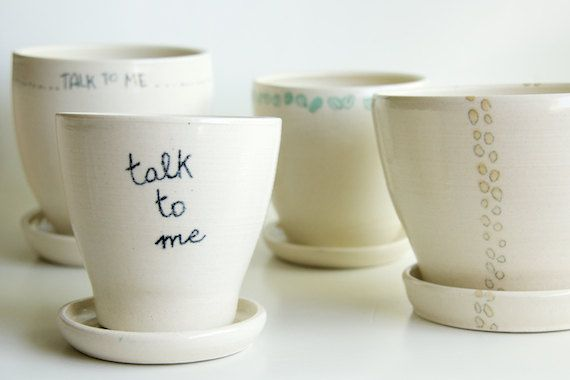 White Planter and Saucer Message Comics Bubble Speech by RossLab, $32.00