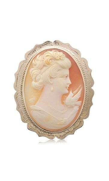 Vintage 9ct rose gold cameo brooch