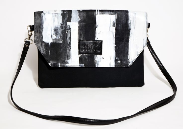 Hand painted clutch - blach and white - #clutch #bag #blackandwhite #hungary #budapest #hungariandesign #hungariandesigner #canvas #print #abstract #pattern #fashion #design