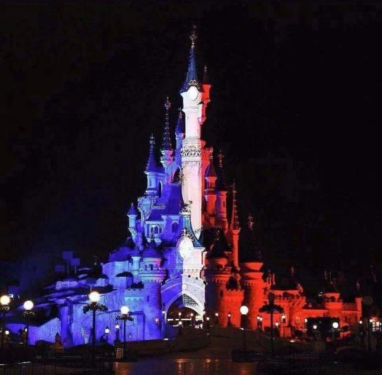 Disneyland Paris, samedi. Pendant quelques heures, le château de la Belle au bois dormant a été éclairé en bleu blanc rouge