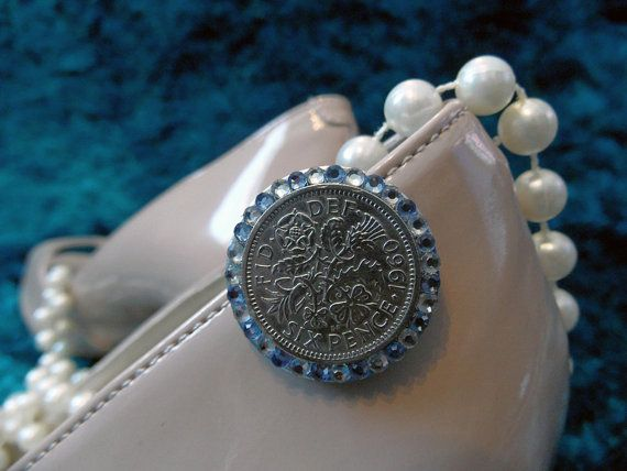A Sixpence For Your Wedding Shoe Blue Clear Crystal Embellished Silver Coin Clip