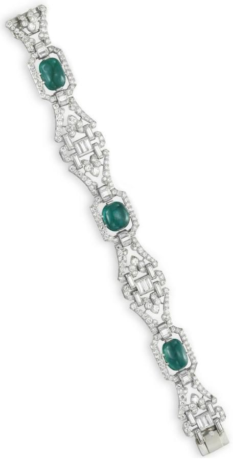 Art Deco diamond and emerald bracelet by J.E. Caldwell, circa 1930. Via Diamonds in the Library.