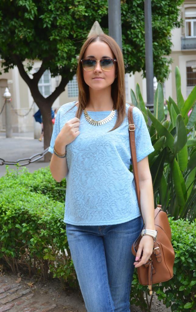 Baby blue 22-6-2014  Blusa / Blouse : Sammydress Jeans : Mango Sandalias / Sandals : Primark