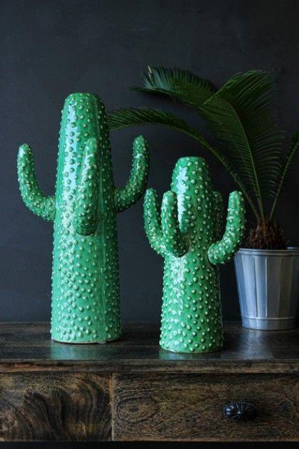 Green Glazed Cactus Vase - two sizes available