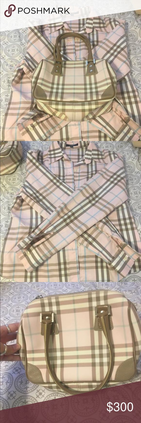 AUTH. BURBERRY PURSE & SHIRT AUTHENTIC BURBERRY PURSE & SHIRT. The shirt is a size medium. Perfect condition. Only worn and carried a few times. Will sell separately. Bought both at the Burberry store in San Marcos Texas. No smudges, rips, tears or stains on either. DUST BAG INCLUDED JUST NOT PICTURED Burberry Bags