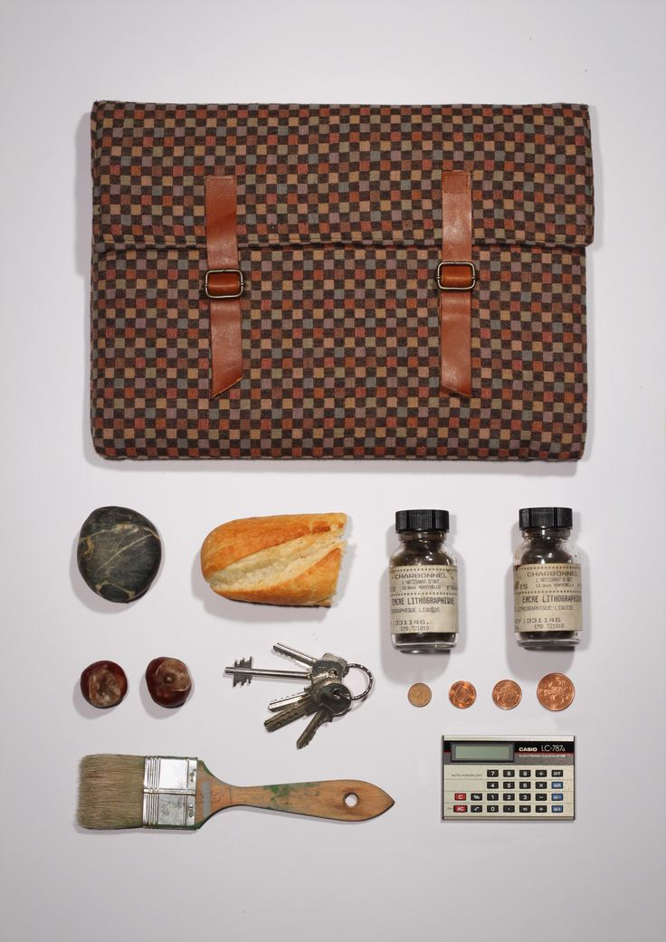 """Lars - Brown checked padded 13"""" Macbook sleeve by Badger and Fox"""