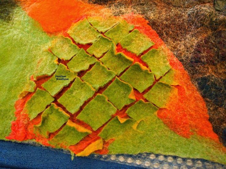 Wool love-functional fiber art: My 'Very Heather' Surface Design Sampler- Part 2 of 3