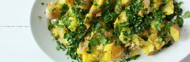 Smashed Potatoes with Lots of Herbs and Scallion Yogurt Recipe from Jessica Seinfeld