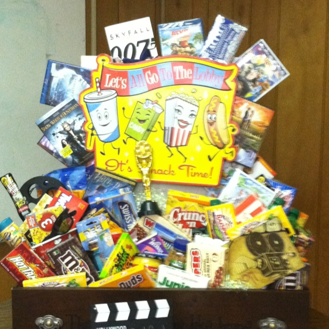 Movie basket for school silent auction.