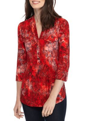 New Directions Women's Three-Quarter Sleeve Jacquard Knit Henley Top - Red/Navy - Xl