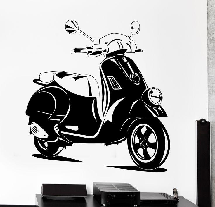 Wall Vinyl Decal Scooter Bike Biker Speed Home Interior Decor z4187