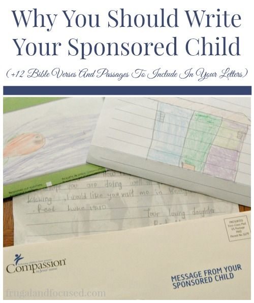 Why You Should Write Your Sponsored Child + 12 Bible Verses and Passages to Include In Your Letters.