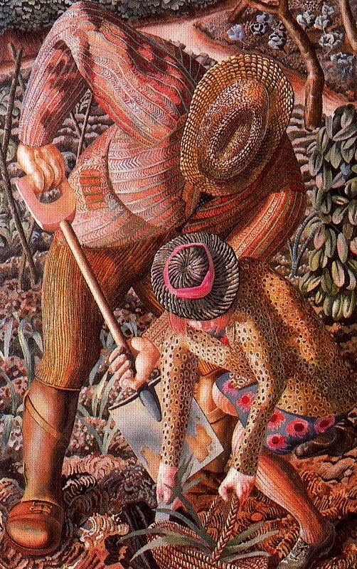 Stanley Spencer (English, 1891 - 1959).  I have seen this used for stumpwork.