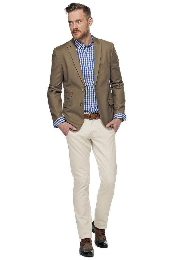Veston ajusté beige foncé et chemise à carreaux / Two-button dark beige blazer over our fitted plaid shirt  #tristanstyle #ss15