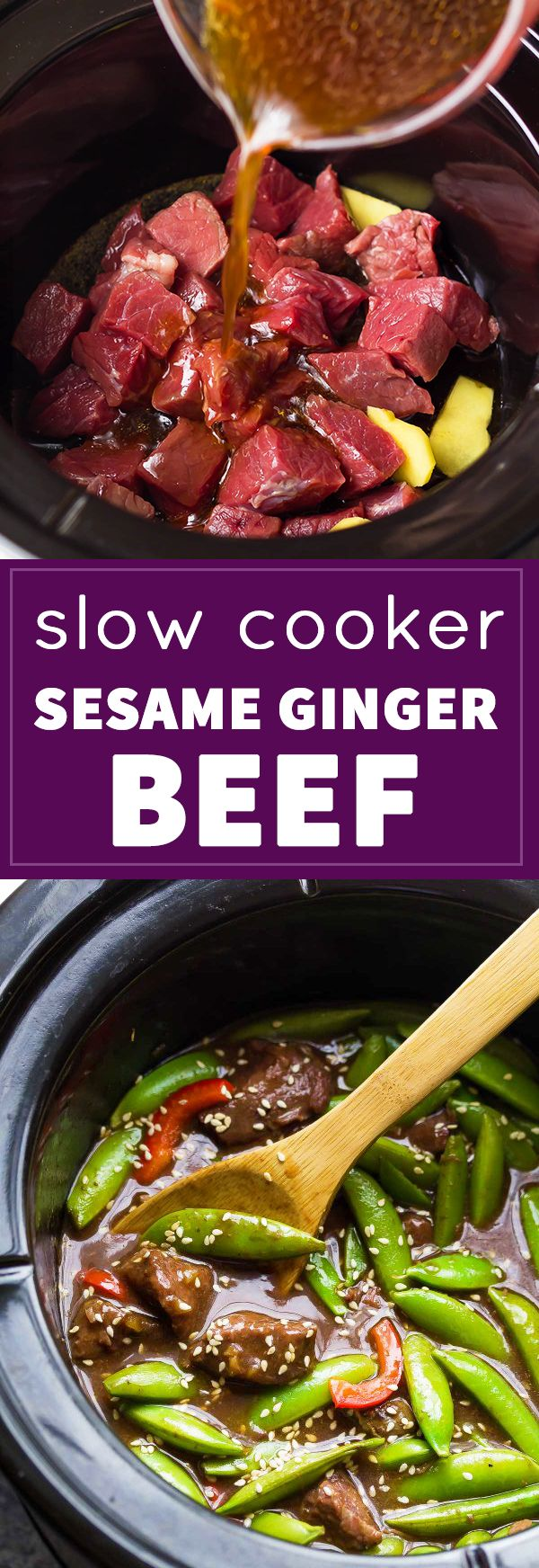 Just a few simple ingredients to make this Slow Cooker Sesame Ginger Beef with Snap Peas!