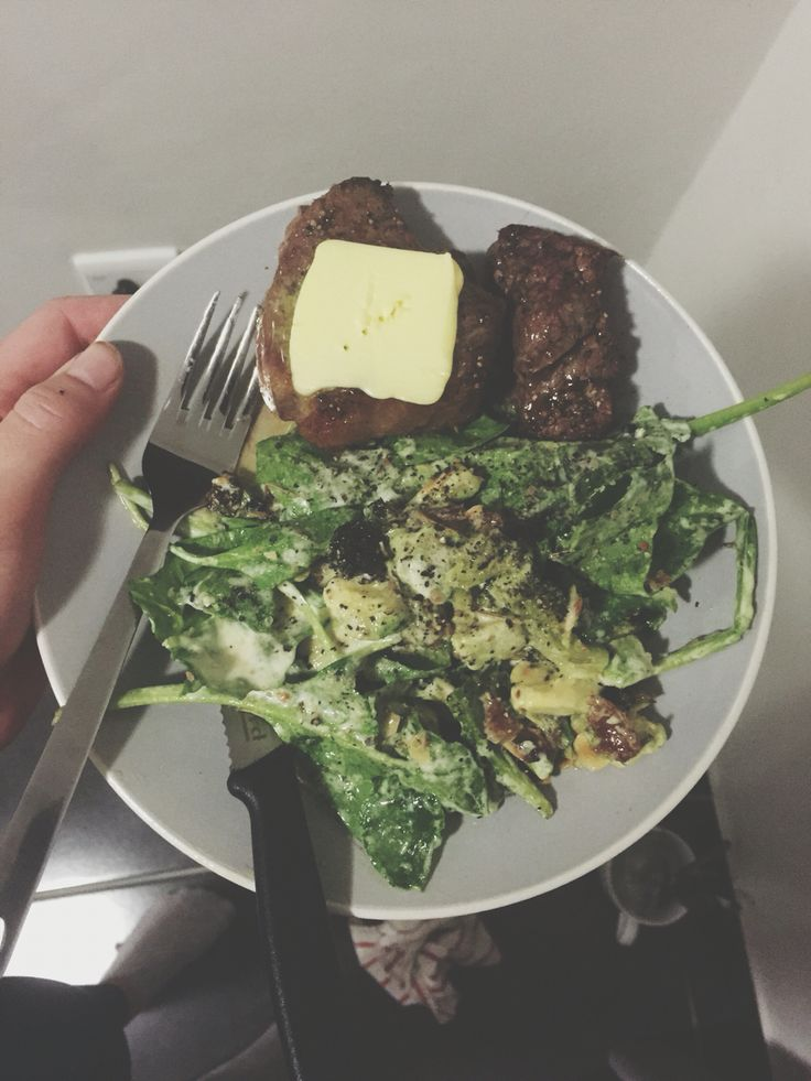 Dinner! Steak with butter and broccoli, bacon salad