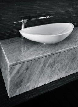 Grey Vanity With White Vessel Sink