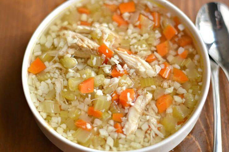 Crockpot Chicken and Cauliflower Rice Soup