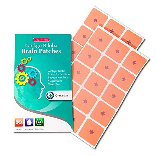 Ginkgo Biloba Brain Patches (30 Days Supply) - Contains (Ginkgo Biloba   Acetyle-l-carnitine   Bacopa Monnieri   Magnesium   Green Tea) - A Convenient Way to Boost Brain Functions, Focus, and Memory.