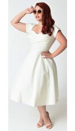 Stop Staring! Plus Size Mad Style Ivory Cap Sleeve Swing Dress