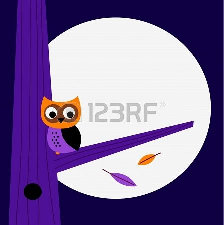 Halloween background with Owl. Vector cartoon Illustration