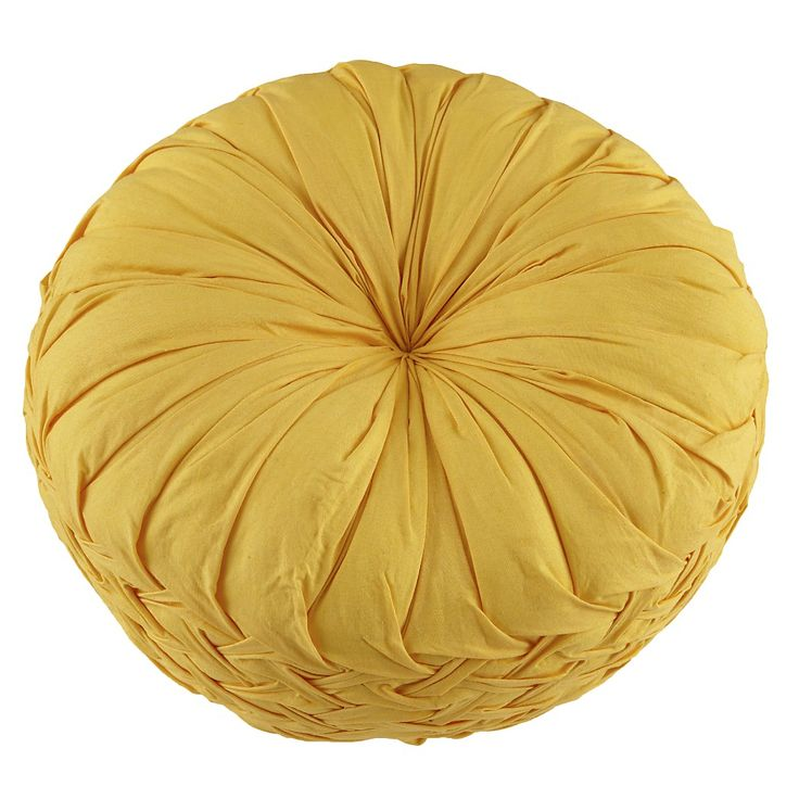"""Ruched Throw Pillow (Yellow) - 12""""Diameter - $29.00"""