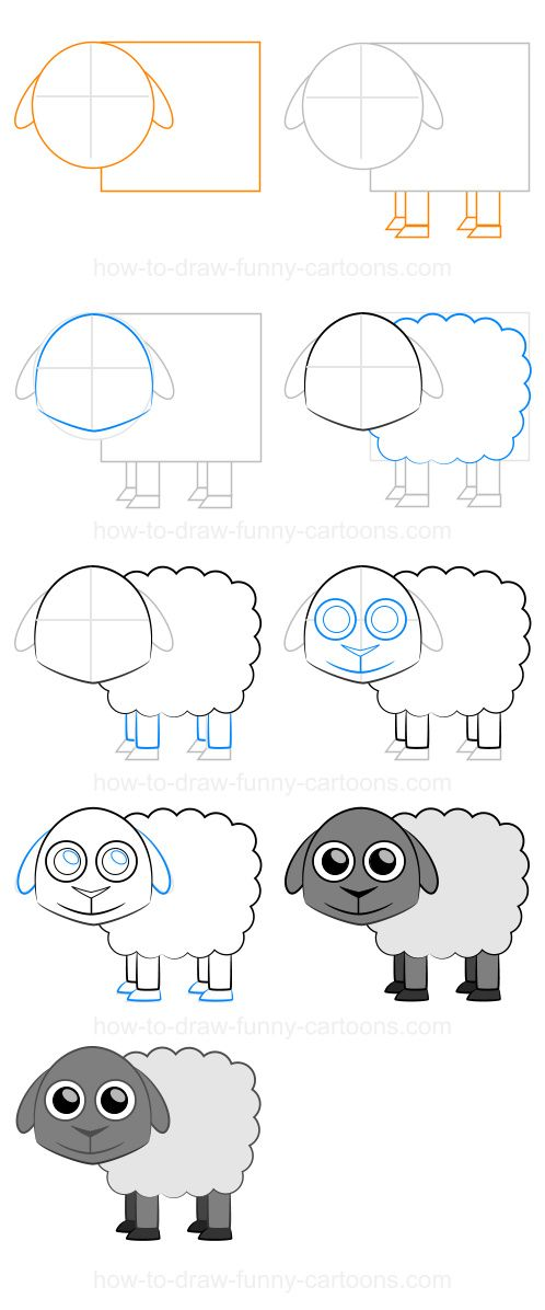 How to draw a sheep (Step-by-step)