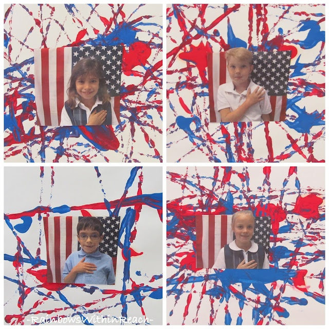 """RainbowsWithinReach: Kindergarten FIREWORKS: """"Red, White and Blue"""" (fireworks made from marble painting)"""