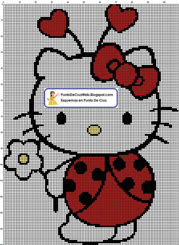 297 best Borduren  Hello Kitty images on Pinterest  Cross stitch