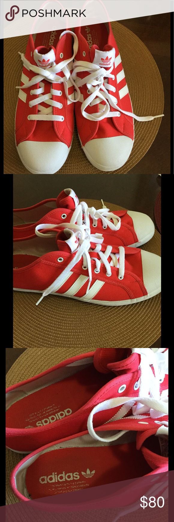 Adidas three stripes original in red and white Adidas three stripes original in red and white in great, near new condition. adidas Shoes Sneakers