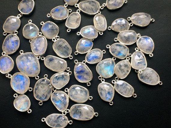 5 Pcs Rainbow Moonstone Free Form Connectors by gemsforjewels