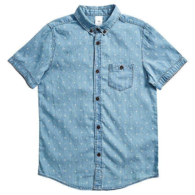 Boys' Short Sleeve Chambray Print Shirt   Target Australia