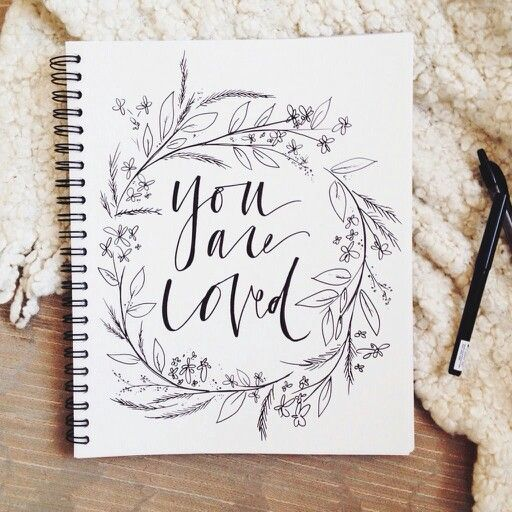 "Handwritten typography ""you are loved"""