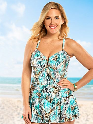 Sexy one-piece swimsuit with a gold detail at the bust to show off a bit of cleavage,  Slimming tummy control