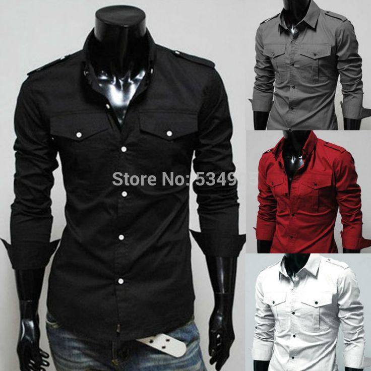 Fashion New Long Sleeve Shirts Men,Two Pocket Quality Boys Outerwear Shirts  $11.99