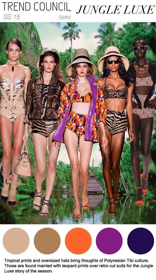 SS 2015, women's swimwear trend forecast, jungle luxe
