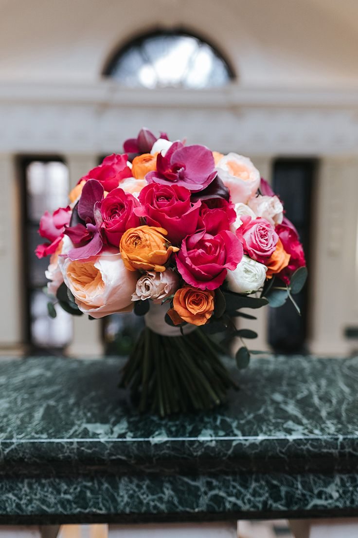Bride Bridal Bouquet Rose Peony Pink Orange Blush Colourful Multicolour Modern Artistic Colour Pop City Wedding http://missgen.com/