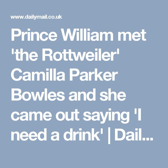 Prince William met 'the Rottweiler' Camilla Parker Bowles and she came out saying 'I need a drink' | Daily Mail Online