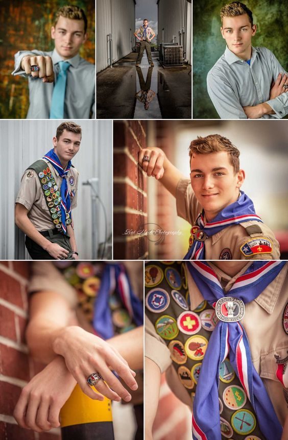 An Eagle Scout's merit badges are a great display for senior portraits