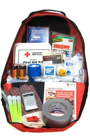 Go Bag Checklist for an Emergency. Add energy bars, H2O, matches, flashlight, tarp/rope, knife.