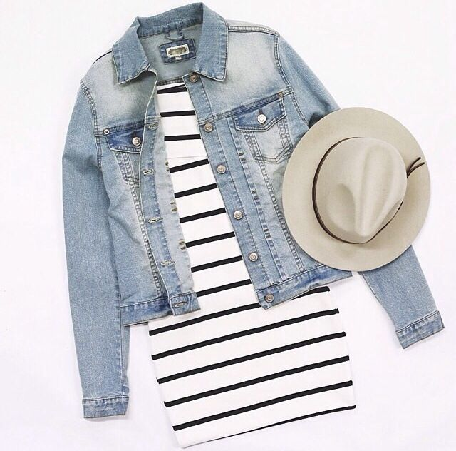 Denim & stripes! I love this outfit