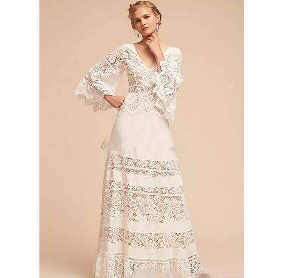France Lace Long Sleeve Country Bohemia Wedding Dresses Plus Size V Neck Full Length Wedding Boho Bridal Gown For Beach Party
