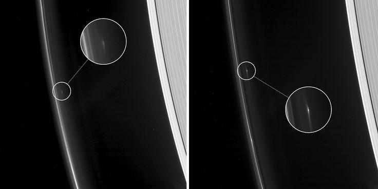 A sonda Cassini da NASA continua suas órbitas semanais passando próxima do lado de fora do anel F de Saturno. Ela está rastreando vários objetos pequenos que são persistentes nessa região. Curiosamente, os cientistas declaram que os objetos não identificados podem ter corpos sólidos em seus interiores, dado o fato de que eles sobreviveram a várias 'colisões'. A sonda Cassini da NASA captouimagens mostrando dois objetos estranhos pairando acima do anel F de Saturno, reporta o site da…