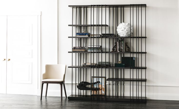 Modular bookcase with frame in white (GFM71), black (GFM73) or graphite (GFM69) embossed lacquered steel. Shelves in Canaletto walnut (NC) or burned oak (RB) or