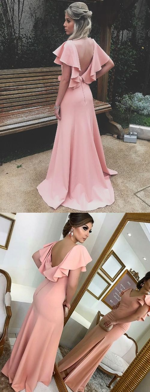 Gorgeous V Neck Sheath Blush Pink Long Prom Dress Jersey Formal Evening Gown Blush pink Prom Gown #dress #gown #prom #prom2018 #homecoming #formaldress #formalgown #weddingparty #promdress #promgown #evening #eveningdress #eveninggown #fashion  #pink