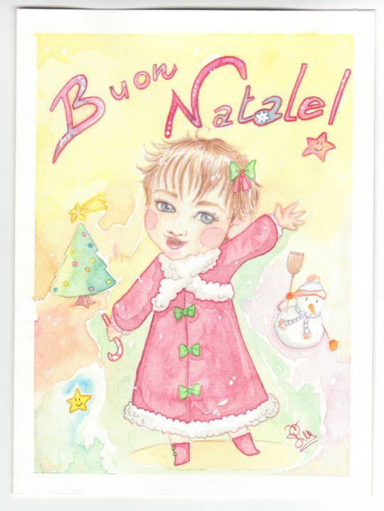 serenapievani simtriky21 #children #illustration #christmas #xmas #watercolor #tree #kids #star #comics #natale #illustrazione #bambini #albero #paint #acquerello #card #biglietto #candy