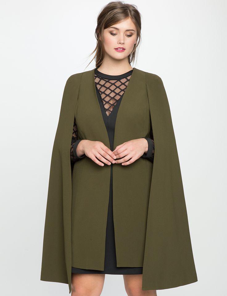 Plus Size Long Cape Blazer