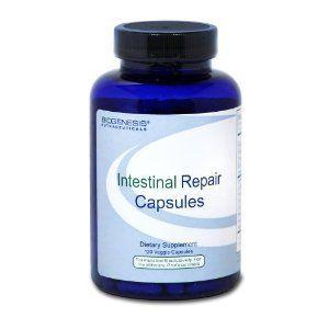 BioGenesis - Intestinal Repair 120 veg caps by BioGenesis. $33.32. Intestinal Repair Caps 120 vcaps  Formerly Intestinal Repair Complex 120 vcapsules   Ingredients per 4 capsules:  Vitamin A Palmitate 2000 IU  Vitamin E Succinate 100 IU  Folic Acid 400 mcg  Zinc (Glycinate 25%) 10 mg  Sodium 5 mg  Sodium Butyrate 100 mg  L-Glutamine 1000 mg  N-Acetyl Glucosamine 500 mg  Okra 400 mg  Cat's Claw 300 mg  Mucin (sialic acid, n-neurominic acid) 300 mg  Quercetin 150 mg  Gamma Oryzan...