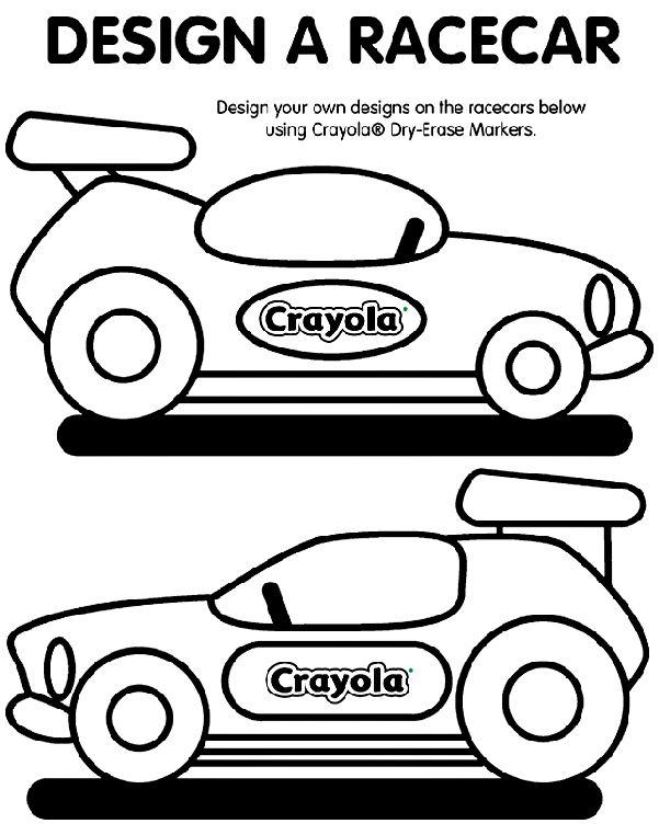 Design A Racecar Coloring Page Cars Preschool Crayola Race Cars